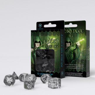 Elvish Translucent & black Dice Set (7) 1