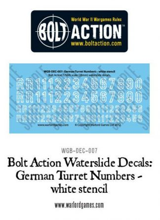German Turret Numbers (white stencil) decal sheet 1