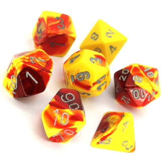 Toxic Ooze Dice Yellow/Red Bag of 10 D20 (1-20) 1