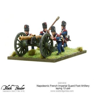 Napoleonic French Imperial Guard Foot Artillery laying 12-pdr 1