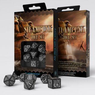 Steampunk Black & white Dice Set (7) 1