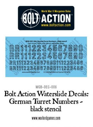 German Turret Numbers (black stencil) decal sheet 1