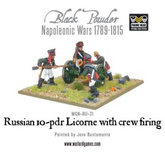 Napoleonic Russian 10-pdr Licorne howitzer with crew firing 1