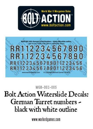 German Turret numbers (black with white) decal sheet 1