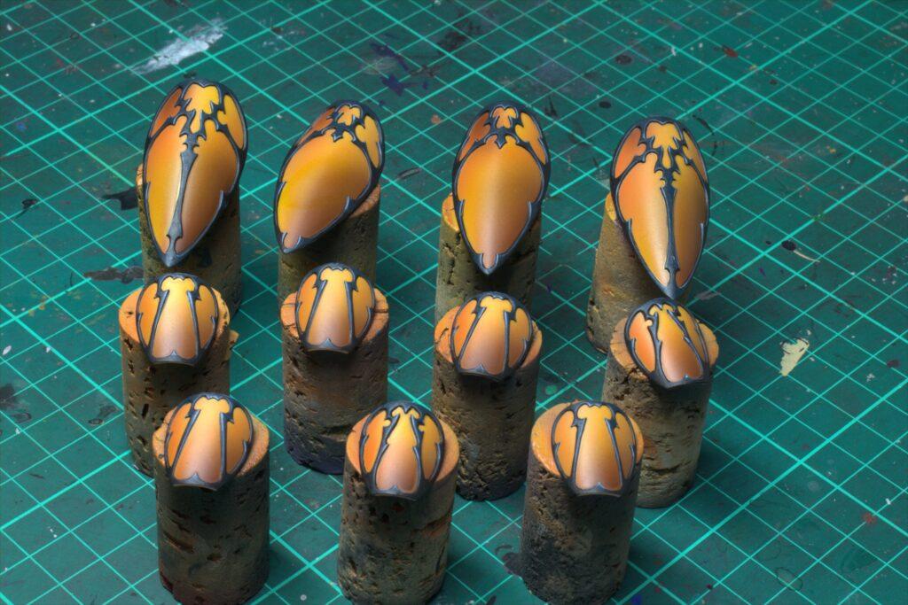 warahmmer 40000 voidraven bomber drukhari canopy canopies painting guide sunset orange airbrush vallejo games workshop warhammer eldar dark army painter fenrisian grey citadel