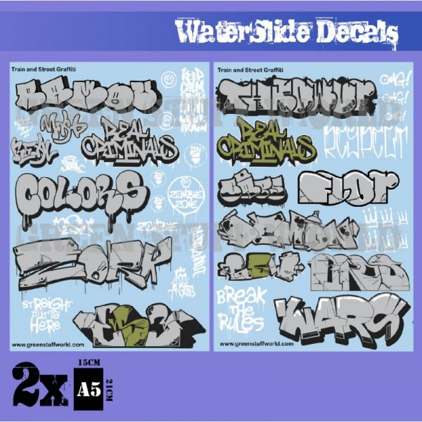 Green Stuff World   Decals Waterslide Decals - Train and Graffiti Mix - Silver and Gold - 8436574503678ES - 8436574503678