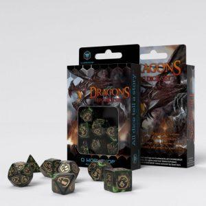 Q-Workshop   Q-Workshop Dice Dragons Bottle-green & gold Dice Set (7) - SDRA98 - 5907699493999