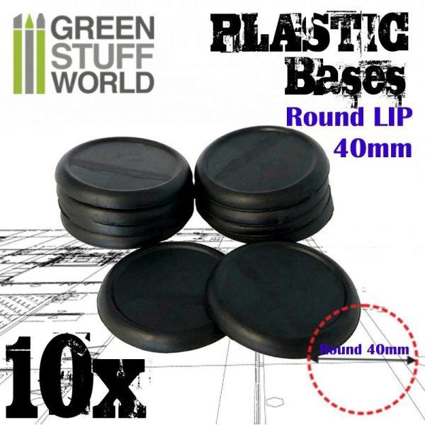Green Stuff World   Plain Bases Plastic Bases - Round Lip 40mm - 8436574503272ES - 8436574503272