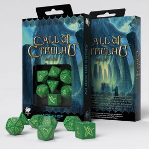 Q-Workshop   Q-Workshop Dice Call of Cthulhu Green & glow-in-the-dark Dice Set (7) - SCTH22 -