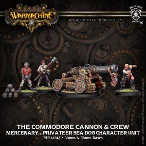 Privateer Press Warmachine & Hordes  SALE! Mercenary Commodore Cannon and Crew - PIP41043 - 875582003745