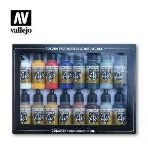 Vallejo   Paint Sets Vallejo Model Air Set: Basic Colors (x16) - VAL71178 - 8429551711784