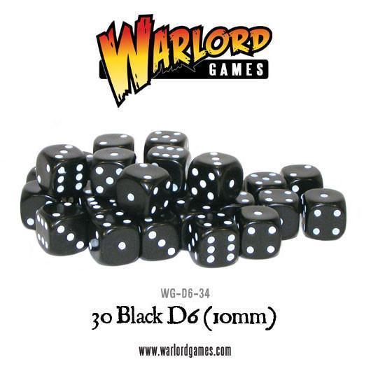 Warlord Games   D6 30 Black D6 (10mm) - WG-D6-34 - 5060200848289