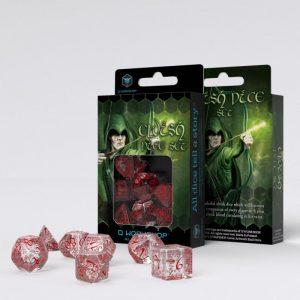 Q-Workshop   Q-Workshop Dice Elvish Translucent & red Dice Set (7) - SELV09 - 5907814951236