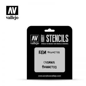 Vallejo   Stencils AV Vallejo Stencils - 1:35 Soviet Slogans WWII No. 1 - VALST-AFV004 - 8429551986403