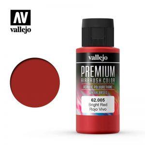 Vallejo   Premium Airbrush Colour Premium Color 60ml: Bright Red - VAL62005 - 8429551620055