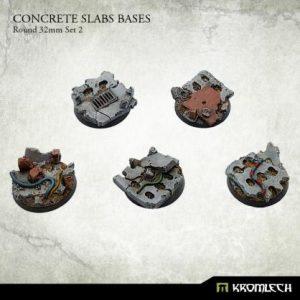 Kromlech   Concrete Slabs Bases Concrete Slabs Round 32mm Set 2 (5) - KRRB014 - 5902216116283