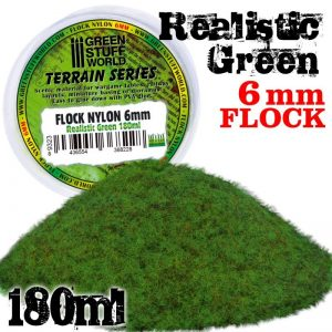 Green Stuff World   Sand & Flock Static Grass Flock XL - 6 mm - Realistic Green - 180 ml - 8436554368228ES - 8436554368228