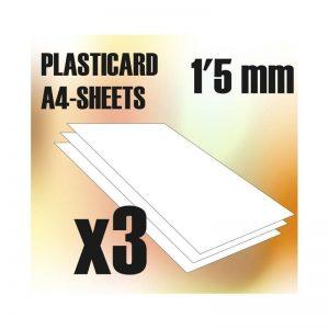 Green Stuff World   Plasticard ABS Plasticard A4 - 1'5 mm COMBOx3 sheets - 8436554366064ES - 8436554366064