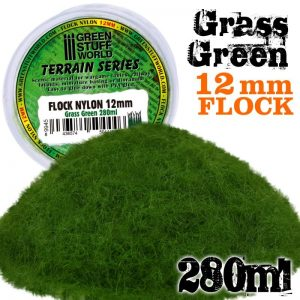 Green Stuff World   Sand & Flock Static Grass Flock 12mm - Grass Green - 280 ml - 8436574504446ES - 8436574504446