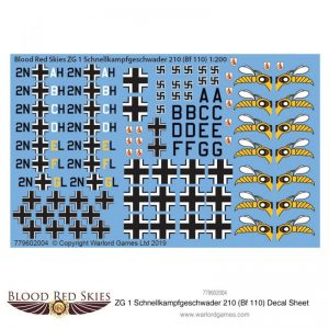 Warlord Games (Direct) Blood Red Skies  Blood Red Skies Blood Red Skies: ZG 1 Schnellkampfgeschwader 210 (Bf 110) decal sheet - 779602004 - 779602004