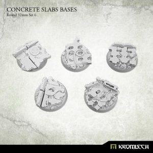 Kromlech   Concrete Slabs Bases Concrete Slabs Round 32mm Set 6 (5) - KRRB050 -