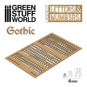 Green Stuff World   Modelling Extras Letters and Numbers 4mm GOTHIC - 8435646501291ES - 8435646501291