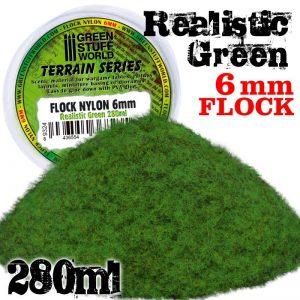 Green Stuff World   Sand & Flock Static Grass Flock XL - 6 mm - Realistic Green - 280 ml - 8436554368235ES - 8436554368235
