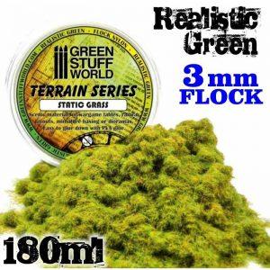 Green Stuff World   Sand & Flock Static Grass Flock 3 mm - Realistic Green - 180 ml - 8436554365678ES - 8436554365678