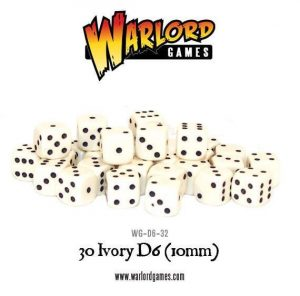 Warlord Games   Warlord Games Dice 30 Ivory D6 (10mm) - WG-D6-32 - 5060200848265