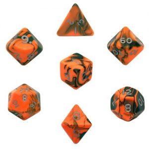 Gamescraft   Toxic Toxic Chemical Dice Orange/Green RPG Set - GC78103 - GC78103