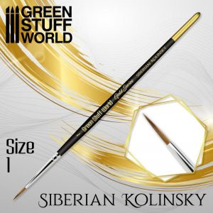 Green Stuff World   Kolinsky Sable Brushes GOLD SERIES Siberian Kolinsky Brush - Size 1 - 8436574507171ES - 8436574507171