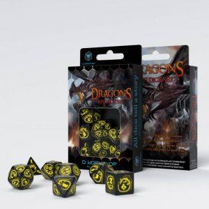 Q-Workshop   Q-Workshop Dice Dragons Black & yellow Dice Set (7) - SDRA07 - 5907814951649
