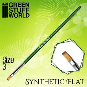 Green Stuff World   Green Stuff World Brushes GREEN SERIES Flat Synthetic Brush Size 3 - 8436574508161ES - 8436574508161