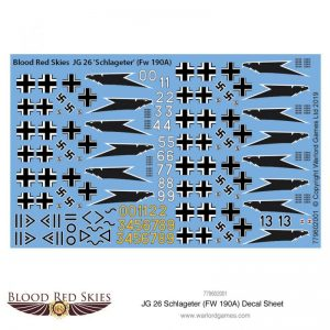 Warlord Games (Direct) Blood Red Skies  Blood Red Skies Blood Red Skies: JG 26 Schlageter (Fw 190A) decal sheet - 779602001 - 779602001