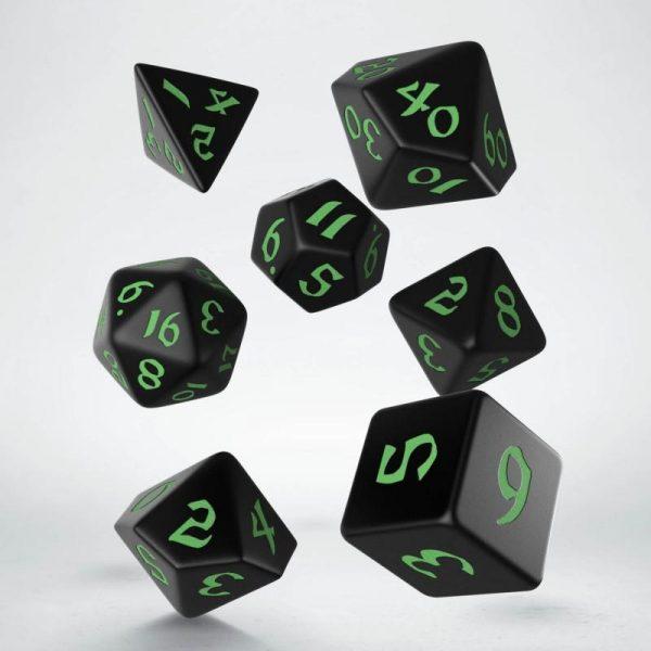 Q-Workshop   RPG / Polyhedral Classic Runic Black & green Dice Set (7) - SCLR21 - 5907699494262