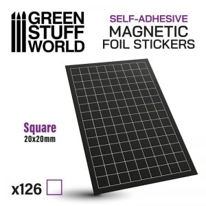 Green Stuff World   Magnets Square Magnetic Sheet SELF-ADHESIVE - 20x20mm - 8435646503486ES - 8435646503486