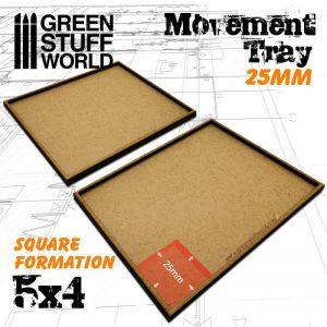 Green Stuff World   Movement Trays MDF Movement Trays 25mm 5x4 - 8436574502930ES - 8436574502930