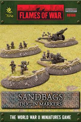Gale Force Nine   Battlefield in a Box Flames of War: Sandbags Dug In Markers - BB108 -