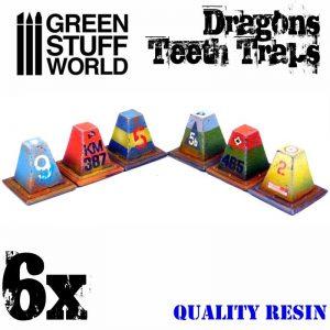 Green Stuff World   Green Stuff World Terrain 6x Resin Dragon Teeth Traps for Tanks - 8436574504033ES - 8436574504033