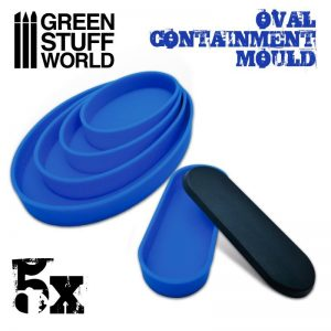 Green Stuff World   Mold Making 5x Containment Moulds for Bases - Oval - 8436574504989ES - 8436574504989
