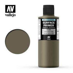 Vallejo   Model Air Primers AV Polyurethane - Primer US Olive Drab 200ml - VAL74608 - 8429551746083