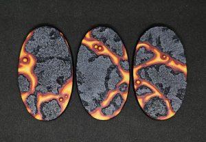 Baker Bases   Lava Lava: 90x52mm Oval Bases (3) - CB-LV-01-90v - CB-LV-01-90v