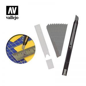 Vallejo   Vallejo Tools AV Vallejo Tools - Slim Snap-Off Knife & 10 Blades - VALT06011 - 8429551930390