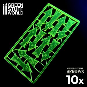Green Stuff World   Status & Wound Markers Charge and Retreat Arrows - Fluor Yellow-green - 8435646500560ES - 8435646500560