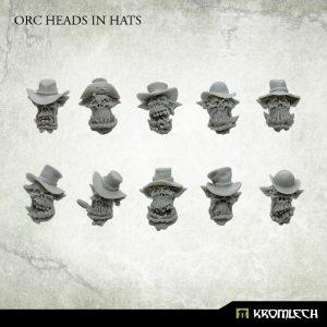 Kromlech   Orc Conversion Parts Orc Heads in Hats (10) - KRCB227 - 5902216117471
