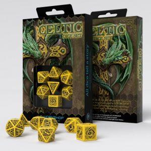 Q-Workshop   Q-Workshop Dice Celtic 3D Revised Yellow & black Dice Set (7) - SCER13 - 5907699491681