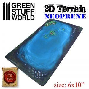Green Stuff World   Green Stuff World Terrain 2D Neoprene Terrain - Lake with leaves - 8436574504507ES - 8436574504507
