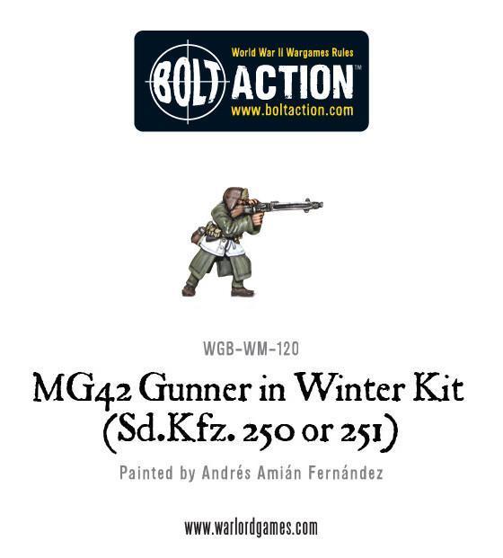 Warlord Games (Direct) Bolt Action  Germany (BA) German MG42 Gunner in Winter kit (Sd.Kfz 250 or 251) - WGB-WM-120 - WGB-WM-120