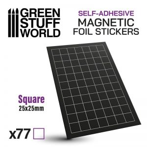 Green Stuff World   Magnets Square Magnetic Sheet SELF-ADHESIVE - 25x25mm - 8435646503493ES - 8435646503493