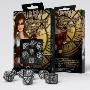 Q-Workshop   Q-Workshop Dice Steampunk Clockwork Black & white Dice Set (7) - SSTC05 - 5907699492886